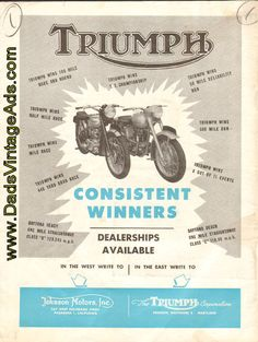 1951 Triumph Motorcycle Advertisement – Consistent Winners