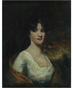 Half-length portrait in oil of a lady in a white dress against a black background. For me about 1810 - 1820