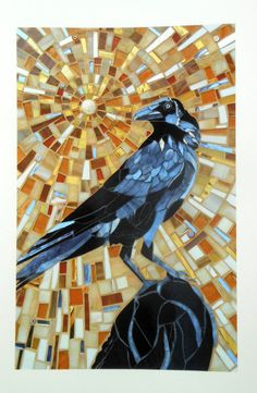 Crow Print - Limited Edition Giclee Print from Original Glass Mosaic Art Mosaic Crafts, Mosaic Projects, Mosaic Art, Mosaic Glass, Stained Glass, Glass Art, Mosaic Garden, Mosaic Ideas, Garden Art