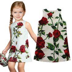 Name brand girl dresses rose flower print summer dress top quality kids clothes high end princess dress casual children clothing(China (Mainland))
