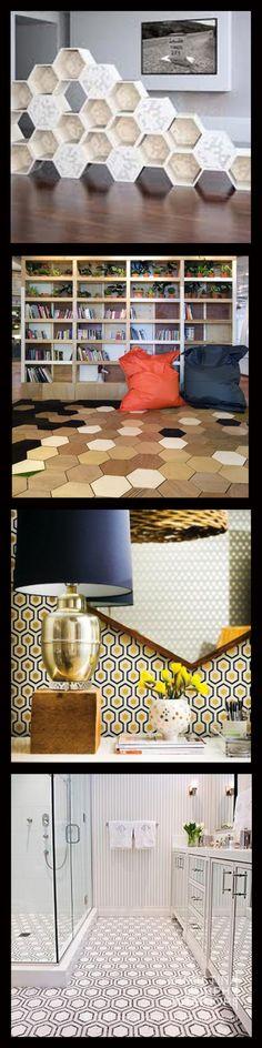 Interior design using hexagons and honeycomb