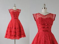 1950s Dress Red Lace STUNNING Illusion XS S vintage Kerrybrooke Anthropologie