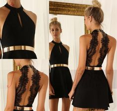J&Y 2015 Sexy Halter Cocktail Dress Black Lace Party Chiffon Dresses  Short Custom Made Prom Dresses For Evening Party