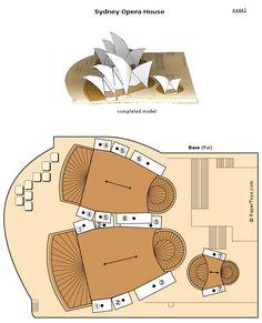 Sydney Opera House - Paper Cutouts by PaperToys.com