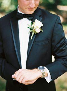 Classic groom attire, white rose bout, black tie, silver watch, formal // JoPhoto