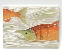 swimming salmon handcarved ceramic art tile by crow foo tstudio,