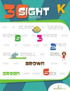 Workbooks: 30 Kindergarten Sight Words