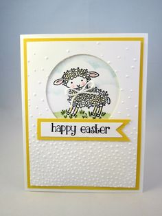 EASTER LAMB Handstamped Happy Easter Greeting Card in Yellow by PrettyOnPaperShop on Etsy