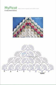 Pin by Mary Harryman on Crochet patterns Picot Crochet, Crochet Stitches Chart, Crochet Diagram, Crochet Poncho, Crochet Scarves, Crochet Motif, Crochet Hooks, Shawl Patterns, Knitting Patterns