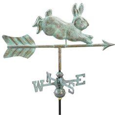 Good Directions Rabbit Garden Weathervane - Blue Verde Copper with Garden Pole