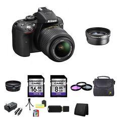 Nikon D5300 Digital SLR Camera w/18-55mm Lens 24GB Package