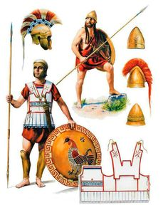 Two Peloponnesian era-hoplites. At the top right, a Spartan sporting the locks that Lakedaemonians are famous for, as well as a pilos helm. The bottom left portrays a hoplite in a standard tube and yoke with a Chalcidian helmet, and bearing a cockerel as his episemon, which could show him as being a native of Amyklai. The description of the art however, identifies him as a perioikoi. Art by Steve Noon
