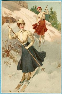 Edwardian women skiing in corsets