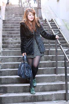 New Look Faux Fur Coat, New Look Polka Dots Dress, Gerard Darel 24h Handbag, André Green Shoes