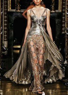 Silver isis wing pleated couture gown