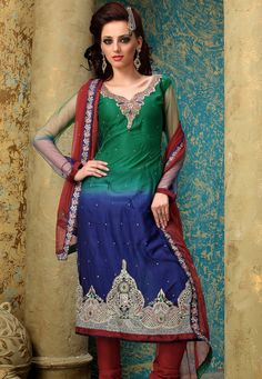 Green and Dark Blue Net Churidar Kameez