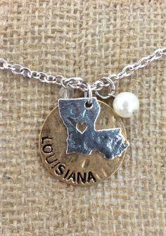 Louisiana Charm Necklace by DressinGaudy on Etsy https://www.etsy.com/listing/194298648/louisiana-charm-necklace