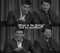 (gif) Jensen reacting to Misha's portrayal of Castiel in their first scene together