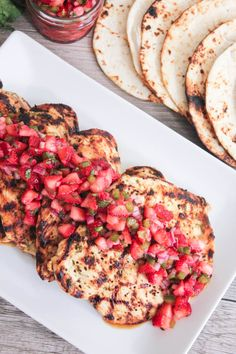 Cilantro-Lime Grilled Chicken with Strawberry-Jalapeño Salsa by domesticateme: Simple, fresh and perfect for summer entertaining. #Chicken #Cilantro #Lime #Strawberry #Jalapeno #Grilling #Healthy #Light