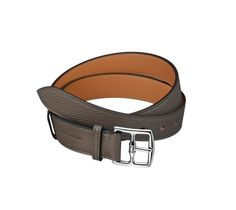 """Etriviere 32 Hermes 32 mm men's belt in taupe taurillon clemence leather, palladium plated buckle (width: 1.25"""")"""