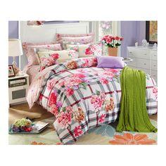 Bed Quilt Duvet Sheet Cover 4PC Set Upscale Cotton Sanded simple but elegant 005