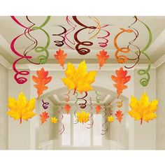 Mega Value Pack Fall Leaf Danglers Make a spiral & attach a watercolor leaf! Mega Value Pack Fall Le Fall Classroom Decorations, Easy Halloween Decorations, Classroom Crafts, School Decorations, Thanksgiving Decorations, Preschool Crafts, Autumn Crafts, Autumn Art, Christmas Crafts For Kids
