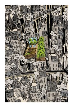 Ciudades imaginarias (Ilustraciones) a project by Andreslozano. Domestika is the largest community for creative professionals. Love The Earth, School Themes, Pulp Art, Urban Farming, Cloud 9, Environmental Art, Caricature, Illustration, City Photo
