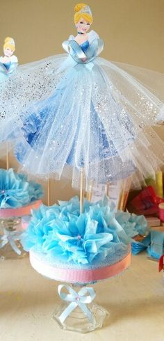 Cinderella centerpiece idea - change the picture with your child photo would be fun