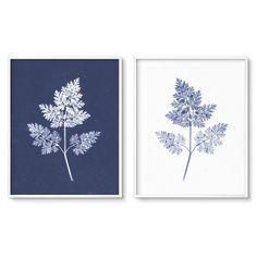 Living Room Art Set - Modern Botanical Print Set of Two Blue Fern Art Printables. Leaf Wall Art, Metal Tree Wall Art, Framed Wall Art, Botanical Wall Art, Botanical Prints, Living Room Art, Wall Art Sets, Printable Wall Art, Home Art