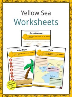 """This is a fantastic bundle which includes everything you need to know about the Yellow Sea across 24 in-depth pages. These are ready-to-use Yellow Sea worksheets that are perfect for teaching students about the Yellow Sea which is one of the four seas named after colors, with """"yellow"""" being descriptive of the phenomenon where fine sand grains from the Gobi Desert sandstorms turn the surface of the waters a golden yellow. Geography Worksheets, Social Studies Worksheets, Yellow Sea, Golden Yellow, Four Seas, Leatherback Turtle, Planting For Kids, Gobi Desert, Industrial Development"""
