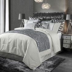 Grey Comforter Sets, Bedding Sets, Glamorous Bedding, Glam Bedding, Luxury Bedding, Bed Scarf, Embroidered Bedding, Grey Home Decor, King Pillows