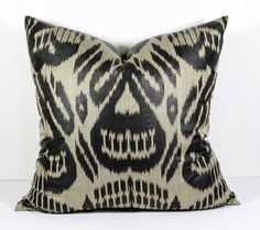 20x20 ikat pillow cover black ikat pillow cushion cover by SilkWay