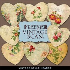 Freebies Kit of Vintage Style Hearts:Far Far Hill - Free database of digital illustrations and papers