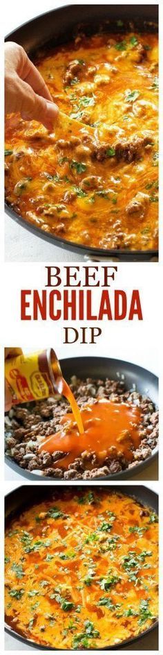 Beef Enchilada Dip - so easy! Always a crowd pleaser! the-girl-who-ate-everything.com