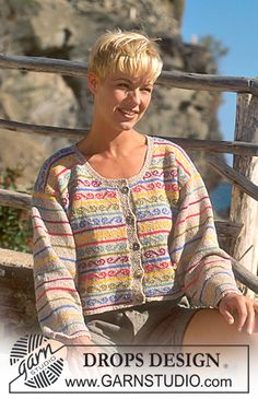 DROPS 41-19 - DROPS jacket in Silke-tweed with border - Free pattern by DROPS Design