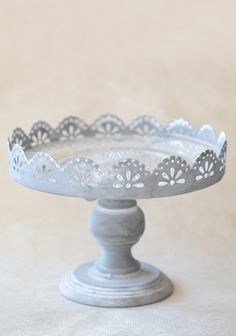 Ideal for displaying your homemade treats this distressed gray metal cake stand features darling cutouts and scalloped edges. Includes a glass plate with ... & vintage shabby chic white cake stand  by montresor.com.au Candle ...
