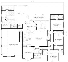 Traditional Style House Plan - 5 Beds 4.5 Baths 4303 Sq/Ft Plan #17-575 Floor Plan - Main Floor Plan - Houseplans.com