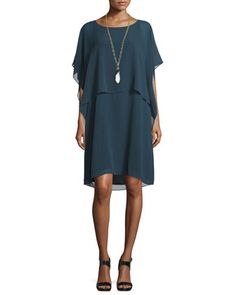 Draped Popover Silk Georgette Dress by Eileen Fisher at Neiman Marcus.