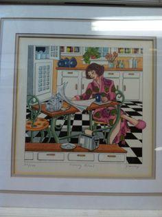 """Framed Lithograph Hand Signed by Frances Greenberg """"Morning Ritual"""" 123/500"""