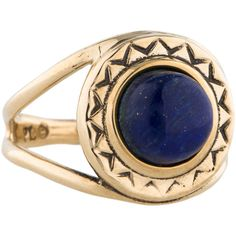 Pre-owned Pamela Love Solar Ring ($75) ❤ liked on Polyvore featuring jewelry, rings, pamela love jewelry, gold tone jewelry, blue ring, pre owned rings and pamela love