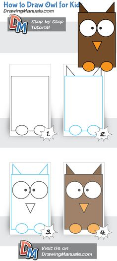 How to Draw Owl for Kids, children love to draw animals by step by step tutorials http://drawingmanuals.com/manual/how-to-draw-owl-for-kids/