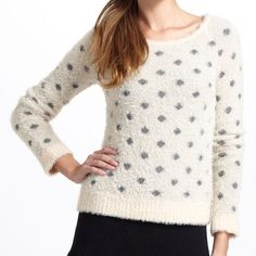 Anthropologie dotted woolly sweater Moth by Anthropologie. Super soft and adorable polka dot sweater with fuzzy look. 65% nylon,35% wool. Hand wash cold. Worn once. In excellent condition. Anthropologie Sweaters Crew & Scoop Necks