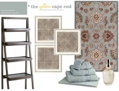 Using a Rug To Choose Wall Color - Benjamin Moore - Boothbay Gray. Interior Design Mood Board Examples, New England Decor, Home Bedroom, Master Bedroom, Cape Cod, Paint Colors, Sweet Home, Rugs, House Styles
