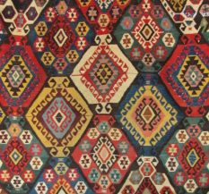 Many other historic textiles are made in tapestry weave including Navajo rugs, kilims, Kente cloth, and many Coptic and pre-Columbian textiles. This is a detail of an Anatolian Kilim from Turkey (c. 1950).