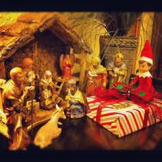 Jake the elf wanted to be a wiseman. We found him giving one of my sons presents to baby Jesus.