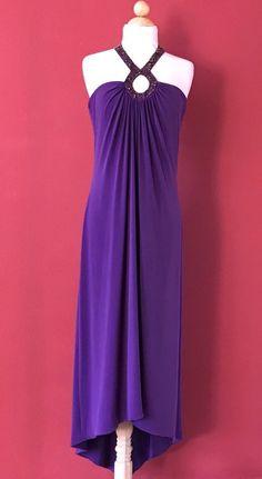 LAUNDRY By Shelli Segal Purple Beaded Halter Asymmetrical Occasion Dress Size 10 #LaundryShelliSegal #AsymmetricalHem #Cocktail