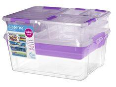 Sistema Home Storage Collection All-Purpose Plastic Stora. Plastic Container Storage, Storage Containers, Home Collections, Purpose, Packing, Lunch Boxes, Organization, Bag Packaging, Storage Bins