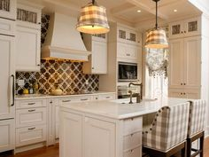 Kitchen combines two favorites- gingham and toile. HGTV