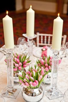 Soft Pink, Tulips and Candles