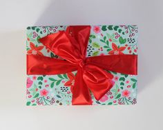 Floral Holiday Gift Wrap | Poinsettia Christmas Wrapping Paper by shopHelloGinger on etsy